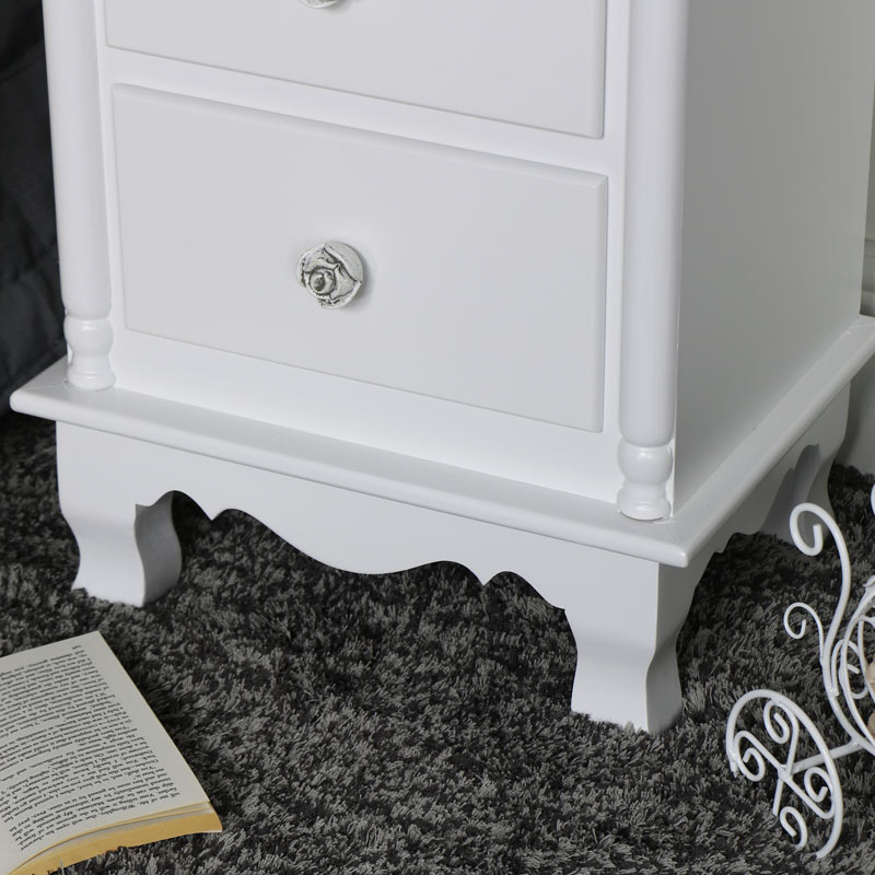 Pair of White 3 Drawer Bedside Chest - Lila Range