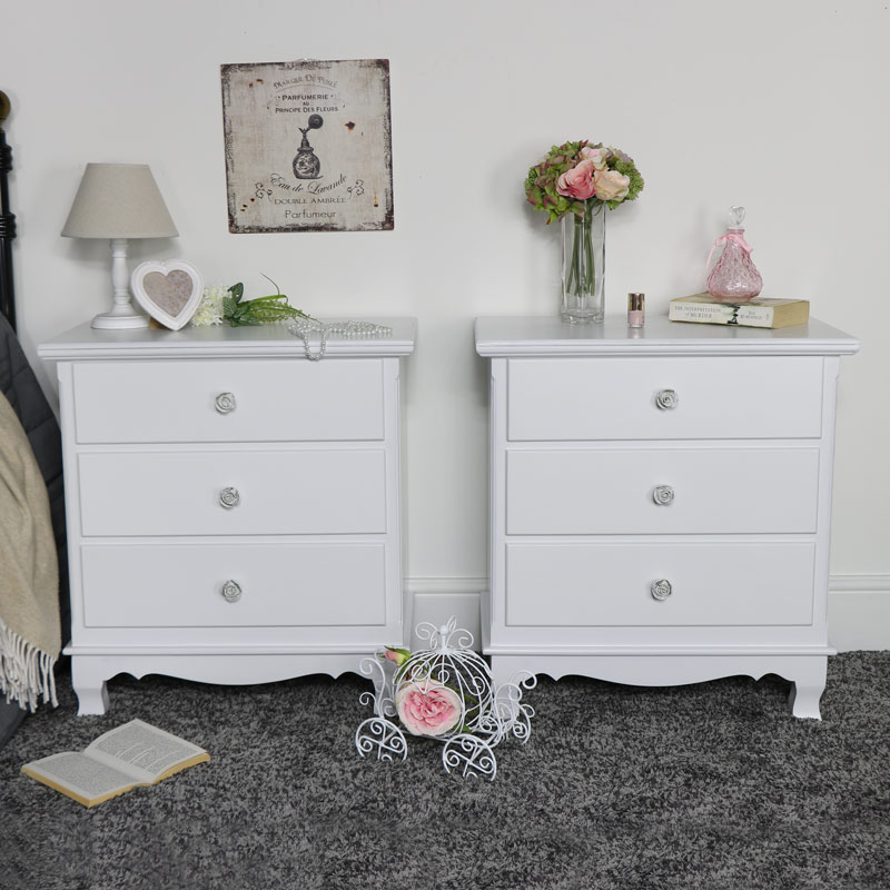 Pair of White 3 Drawer Chest of Drawers - Lila Range