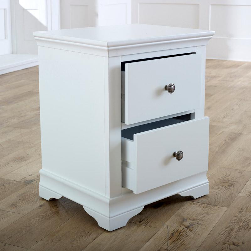 Pair of White Bedside Tables - Newbury White Range