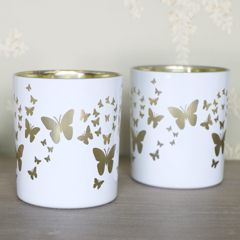 Pair of White Butterfly Candle Holders