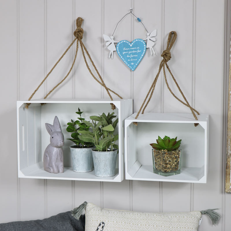 Pair of White Hanging Crate Style Shelves