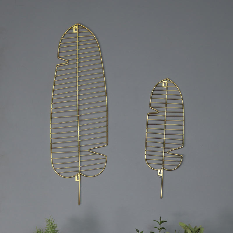 Pair Of Wire Gold Leaf Wall Art Decorations