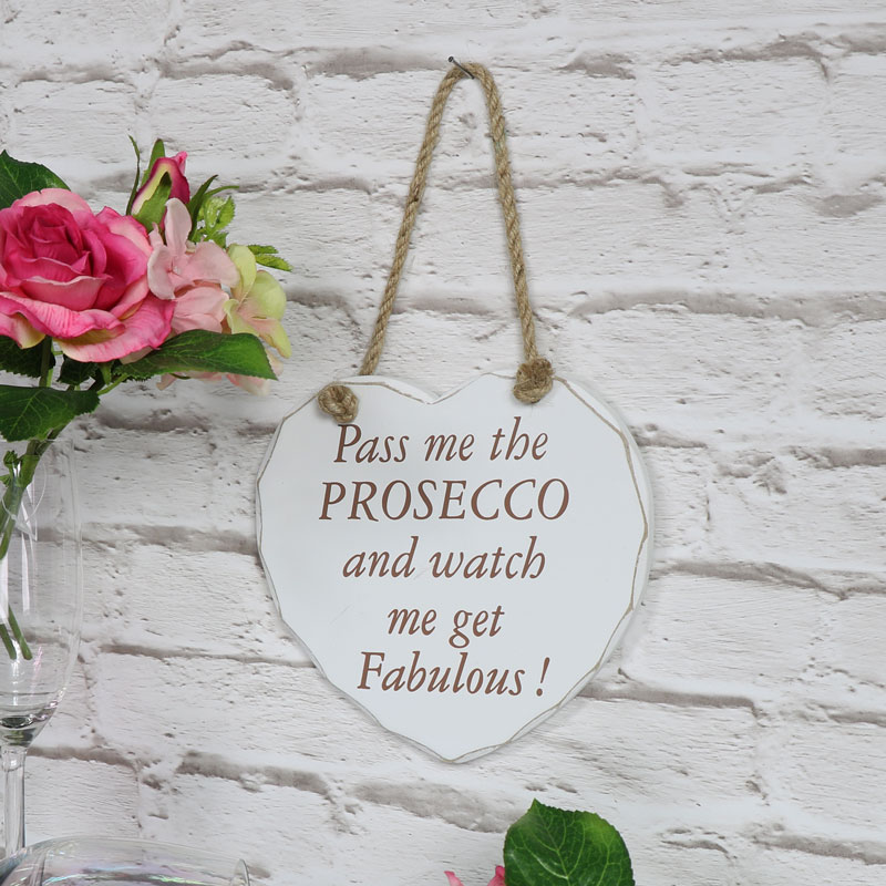 'Pass Me The Prosecco' Wooden Hanging Heart