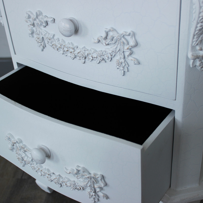 Pays Blanc Range - Antique White 2 Drawer Bedside Table