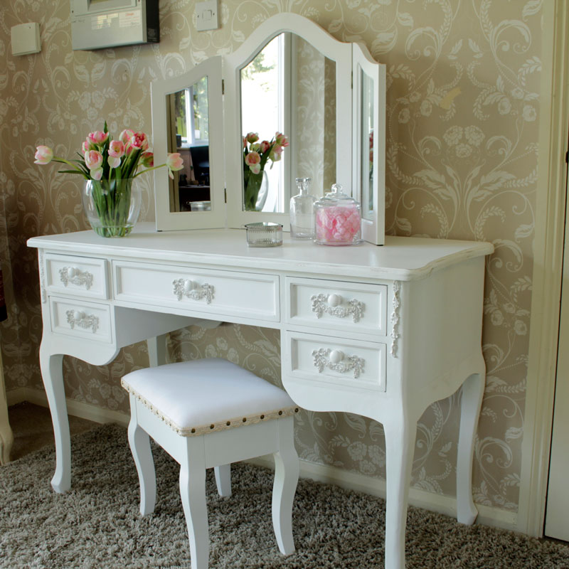 Antique White Dressing Table Desk With Triple Mirror