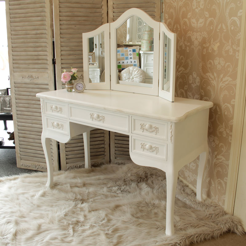 Pays Blanc Range - Antique White Dressing Table Desk with Triple Mirror and Stool