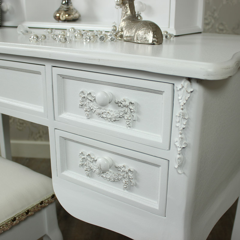Antique White Dressing Table Ornate Mirror And Stool