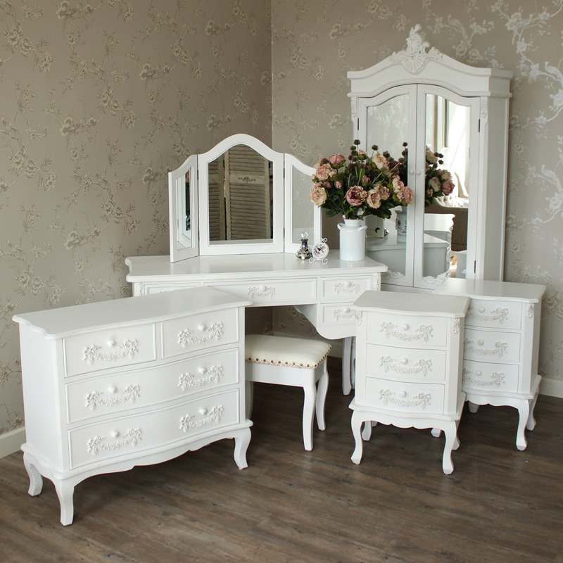 pays blanc range furniture bundle antique white closet 14020 | pays blanc range furniture bundle antique white closet dressing table mirror stool chest of drawers and 2 bedside tables mm24156