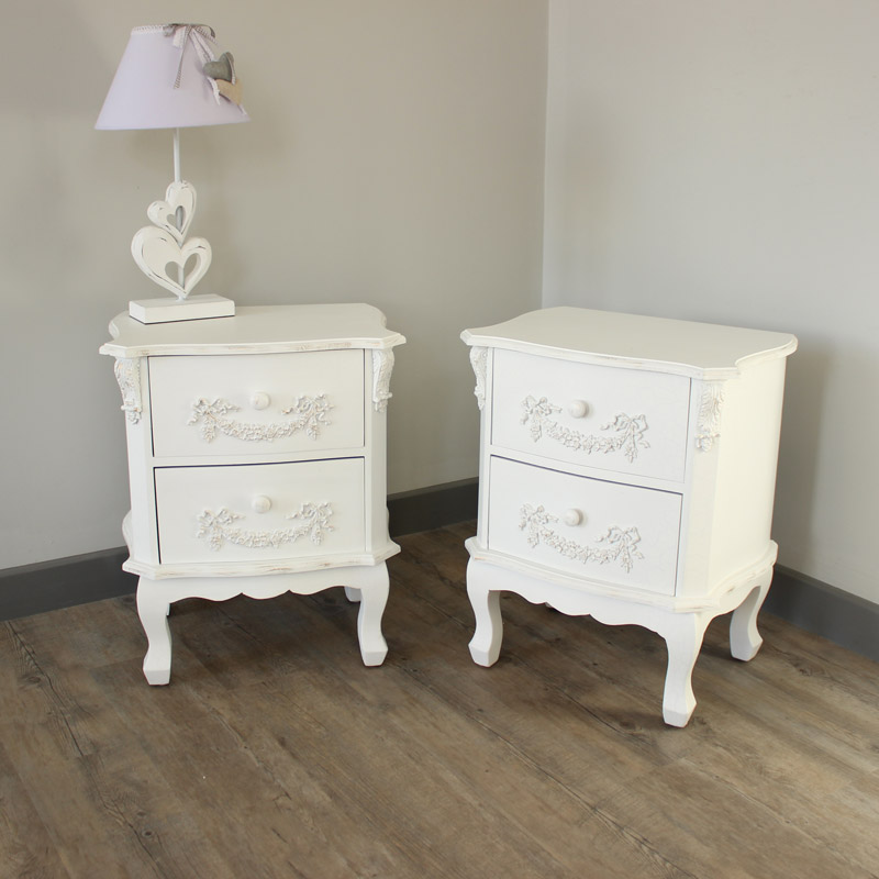 Pair of Antique White 2 Drawer Bedside Tables   Pays Blanc Range   Furniture  Bundle. PAIR white ornate bedside tables cabinets french home bedroom