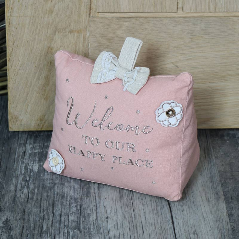Pink Fabric 'Welcome' Doorstop