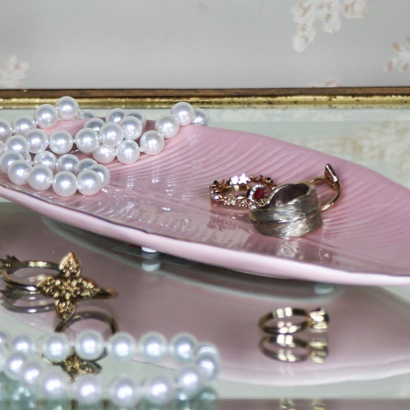 Pink Feather Trinket Dish