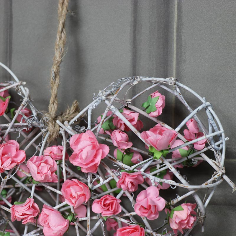 Pink Floral Rattan Heart Wreath