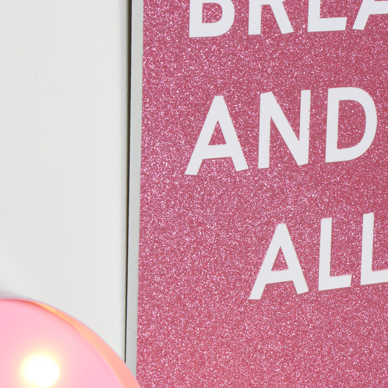 Pink Glitter Breakfast Wall Plaque