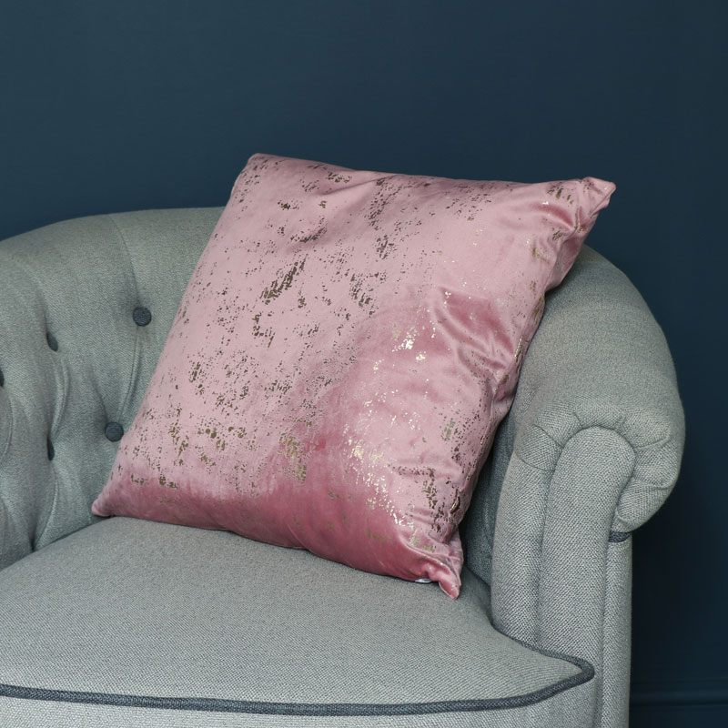 Pink & Gold Velvet Scatter Cushion