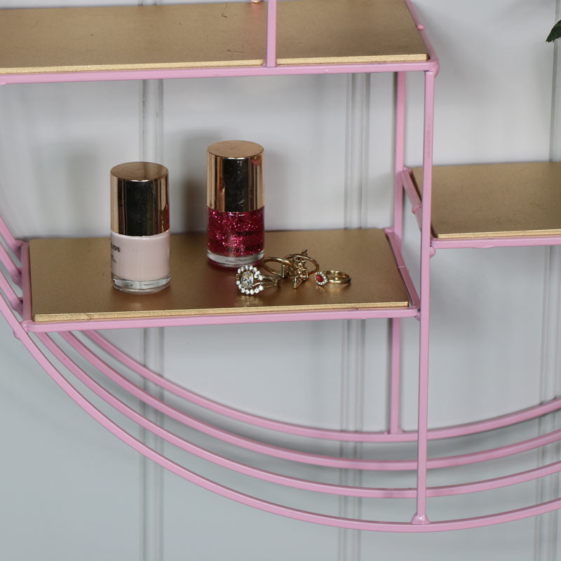 Pink & Gold Wire Metal Wall Shelf