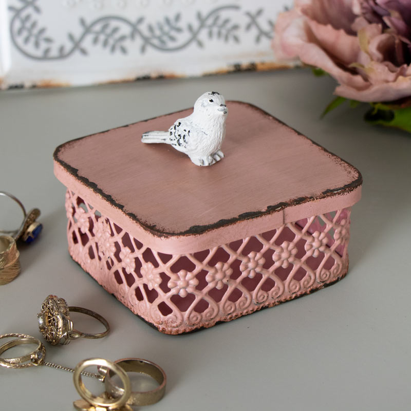 Pink Metal Trinket Box
