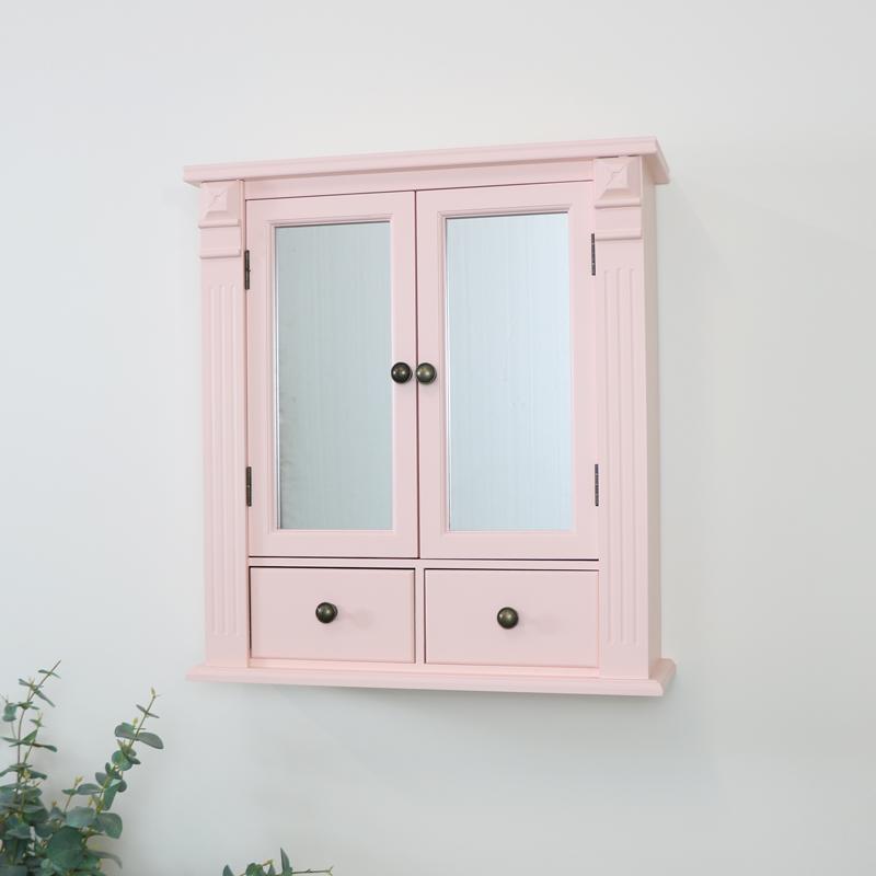 Pink Mirrored Bathroom Wall Cabinet, Bathroom Wall Cabinet
