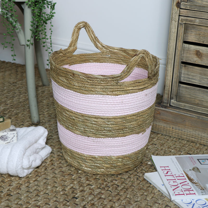 Pink Seagrass Basket - Large