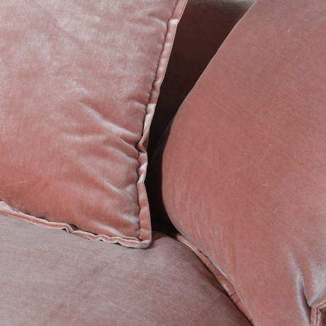 Pink Velvet 3 Seater Sofa with Cushions