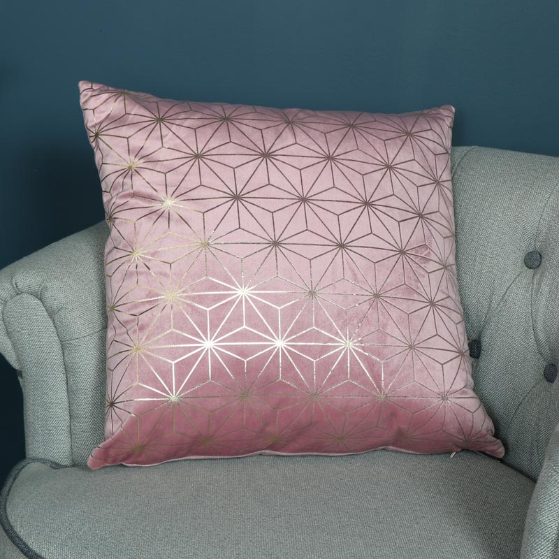 Pink Velvet Gold Foil Scatter Cushion