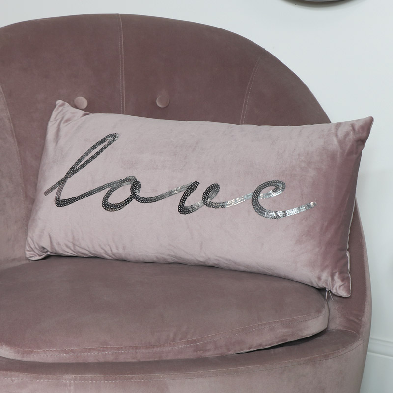 Pink Velvet Sequin Cushion