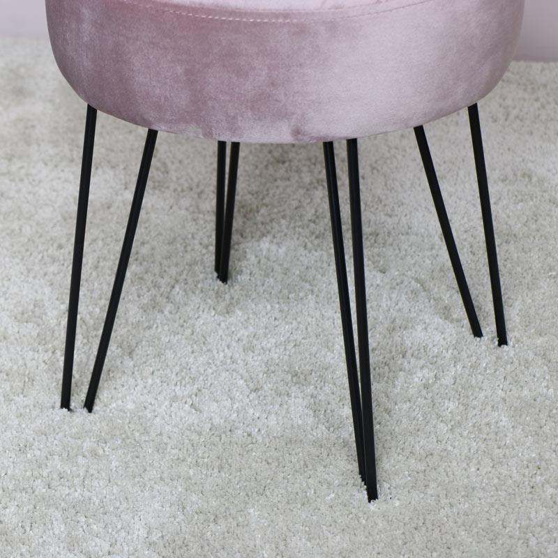 Pink Velvet Stool with Black Hairpin Legs