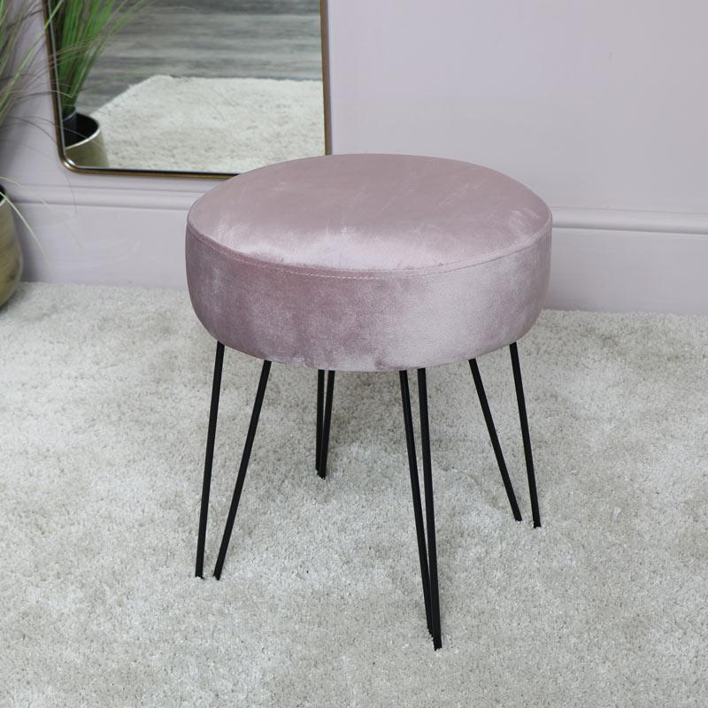 Sensational Pink Velvet Stool With Black Hairpin Legs Cjindustries Chair Design For Home Cjindustriesco