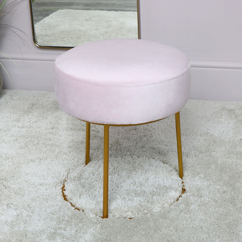 Pink Velvet Stool with Round Gold Base