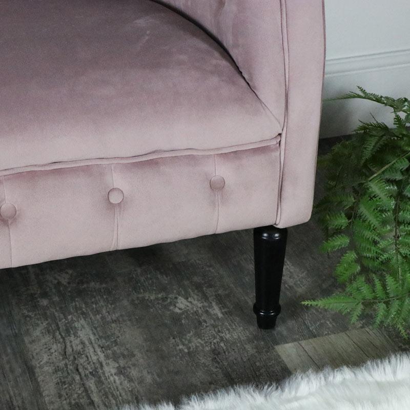 Pink Velvet 2 Seater Sofa