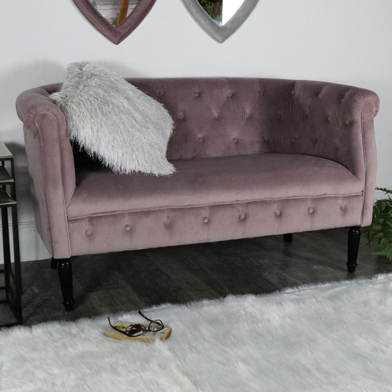 Pink Velvet Upholstered 2 Seater Sofa