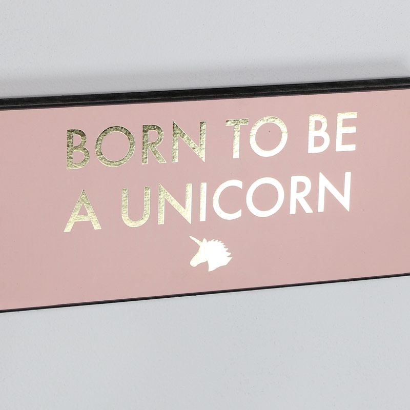 "Pink Wall Plaque ""Born to be a Unicorn"""