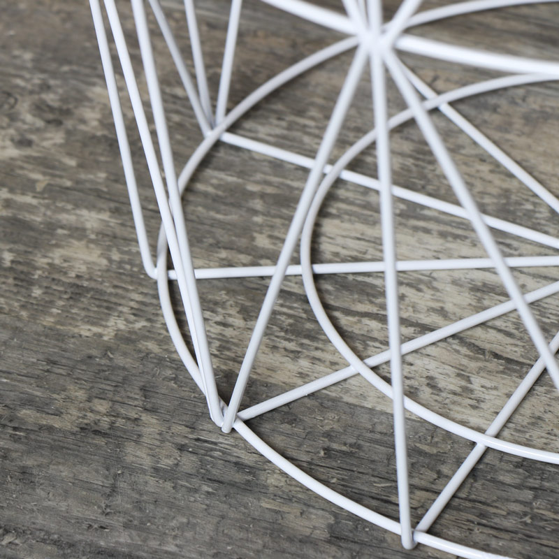 Pink & White Metal Wire Basket Table