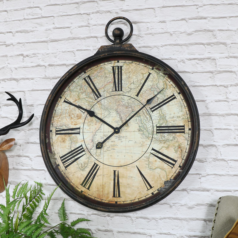 Pocket Watch Style Map Wall Clock