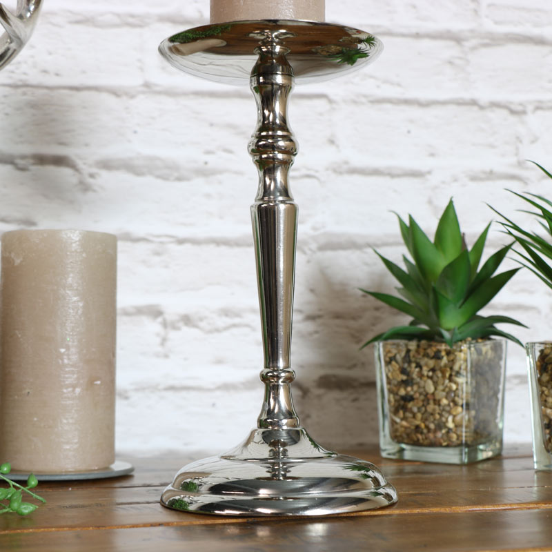 Silver Tall Candle Holder