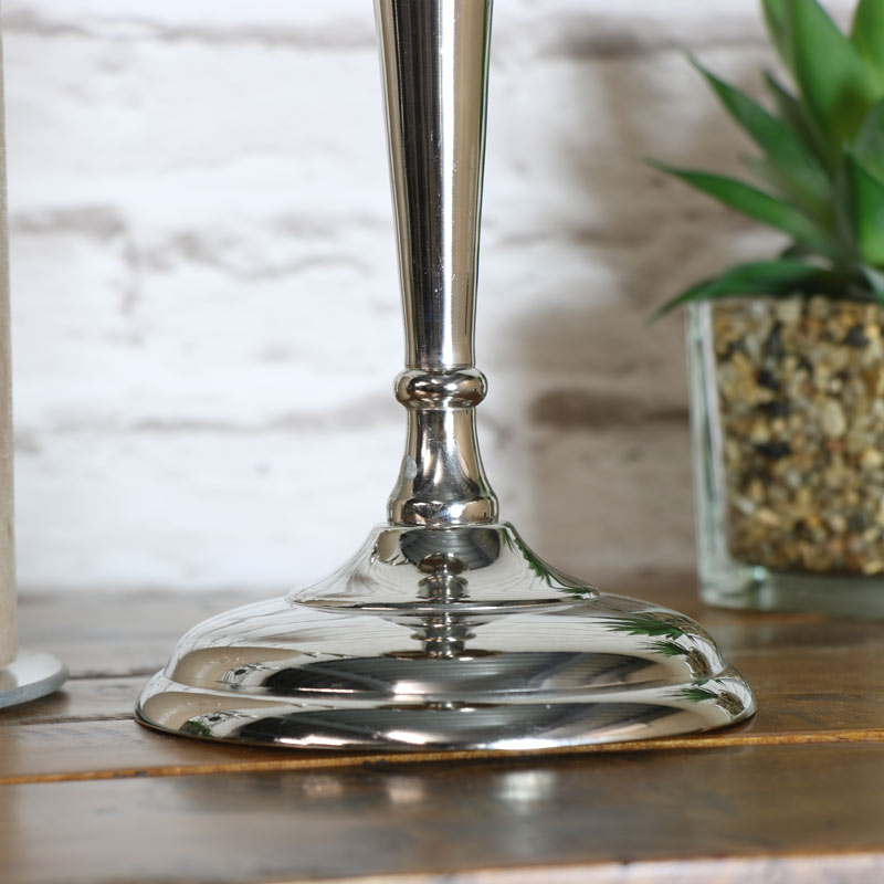 Polished Silver Candle Holder