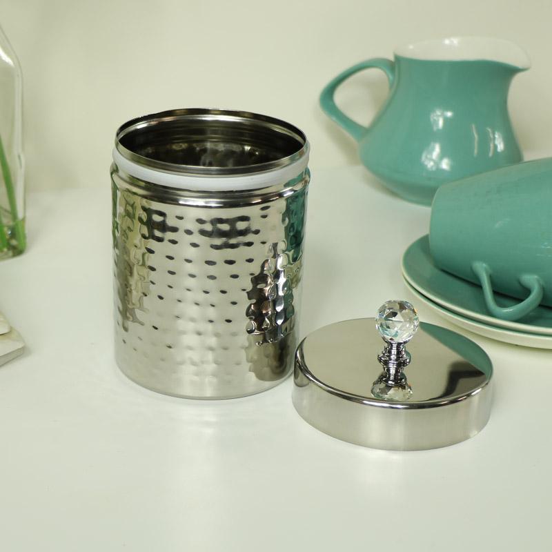 Polished Silver Metal Storage Cannister