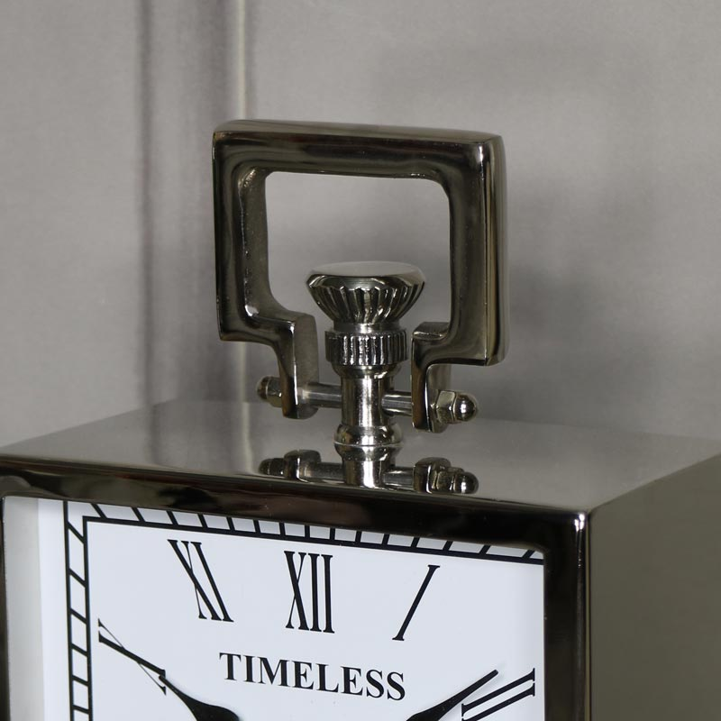 Polished Silver Nickel Mantel Clock