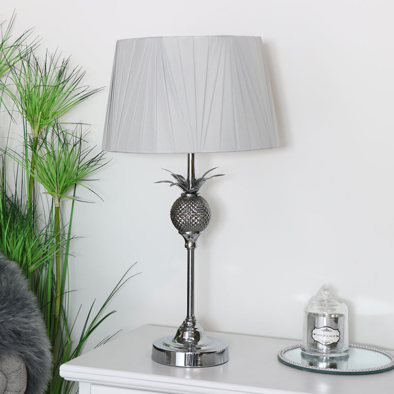 Polished Silver Table Lamp with Light Grey Shade