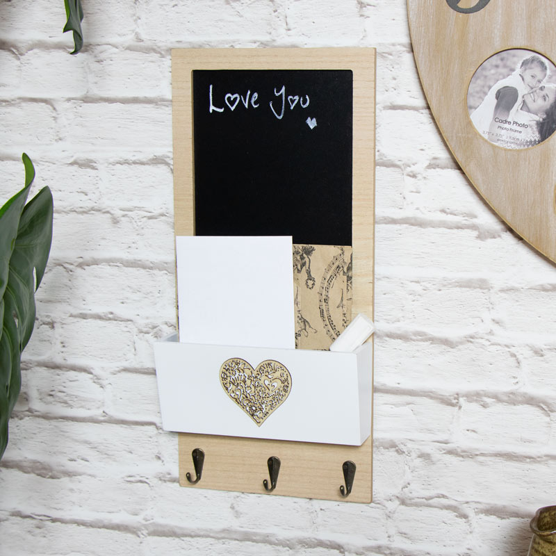 Pretty Chalkboard Organiser with Key Hooks