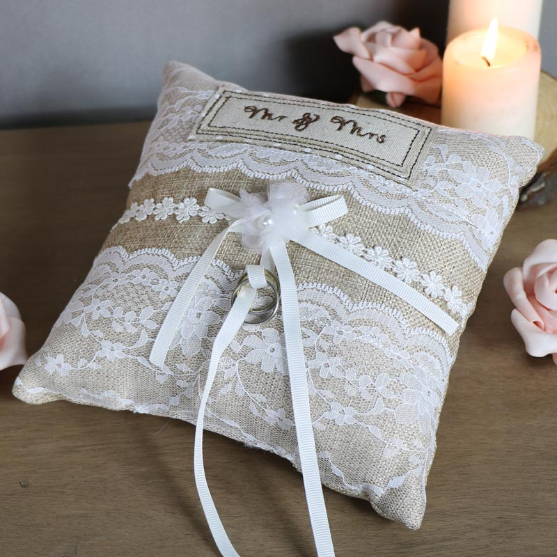 Pretty Little Mr & Mrs Lace Wedding Cushion
