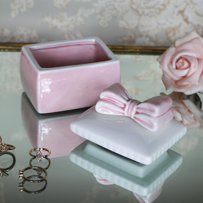 Pretty Pink Bow Boudoir Trinket Box