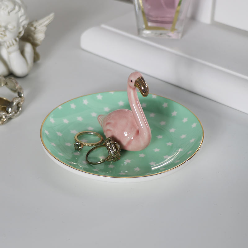 Pretty Pink Ceramic Flamingo Ring/Trinket Dish