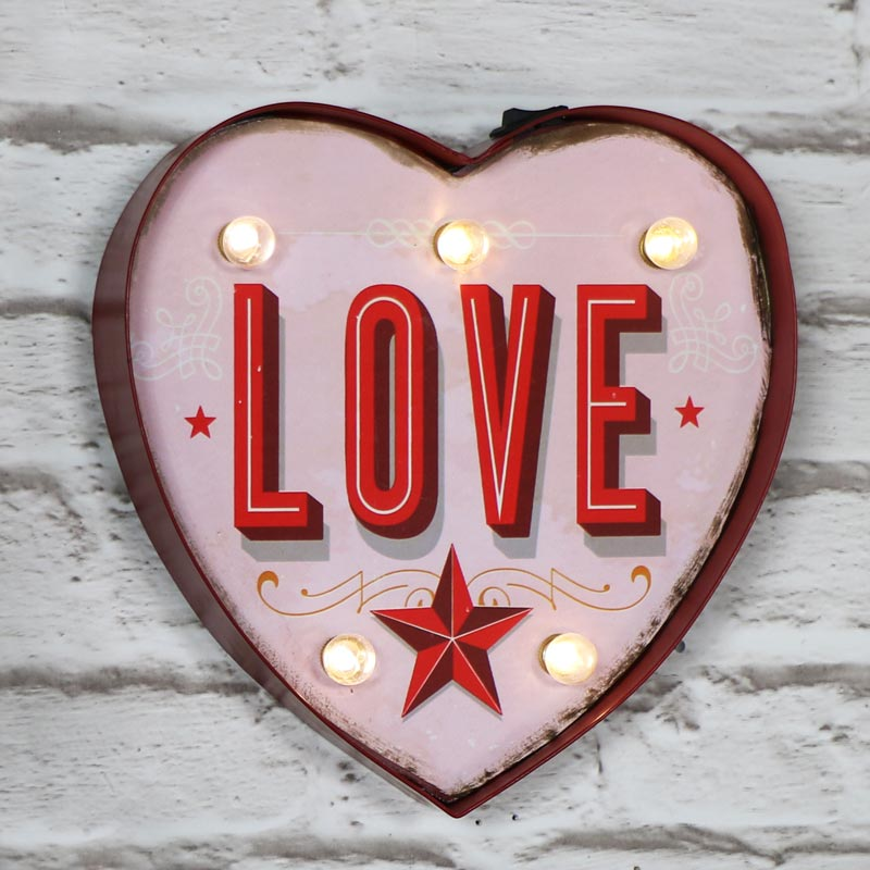 Pretty Pink Light Up Carnival Heart Sign