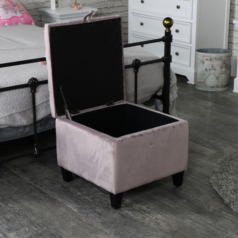 Pretty Pink Velvet Storage Stool/Pouffe