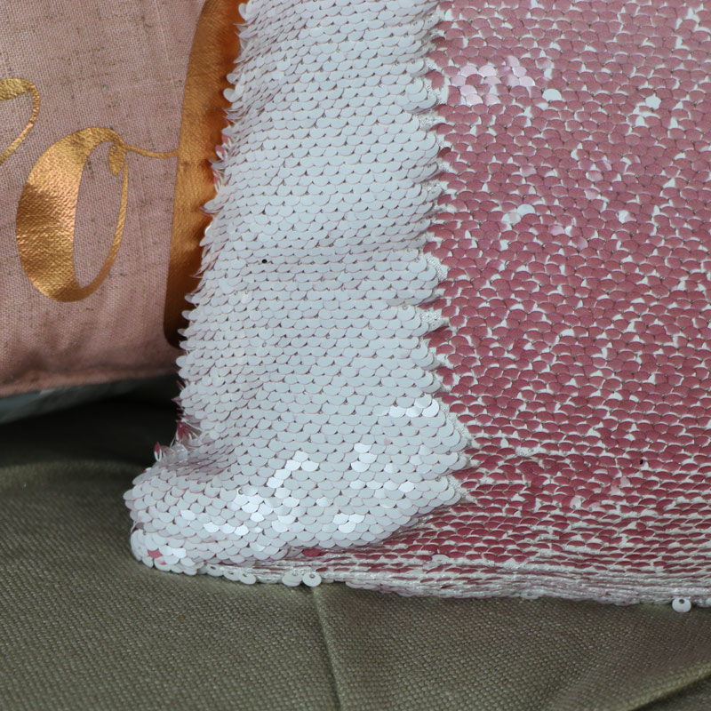 Pretty Sequined Two Tone Flamingo Scatter Cushion