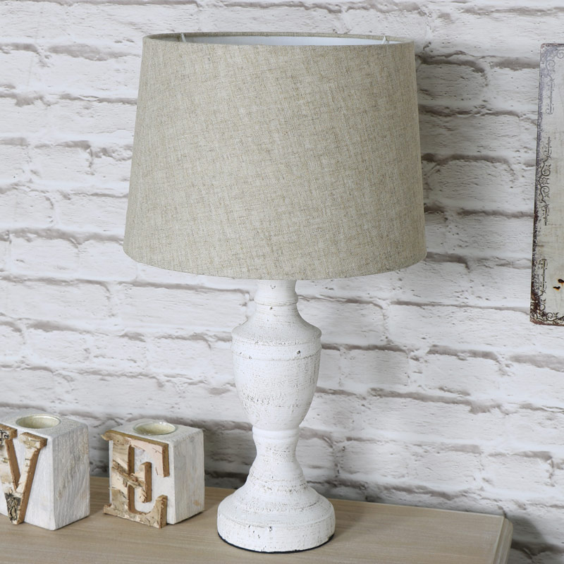 Pretty Vintage Antique White Table Lamp With Beige Shade ...