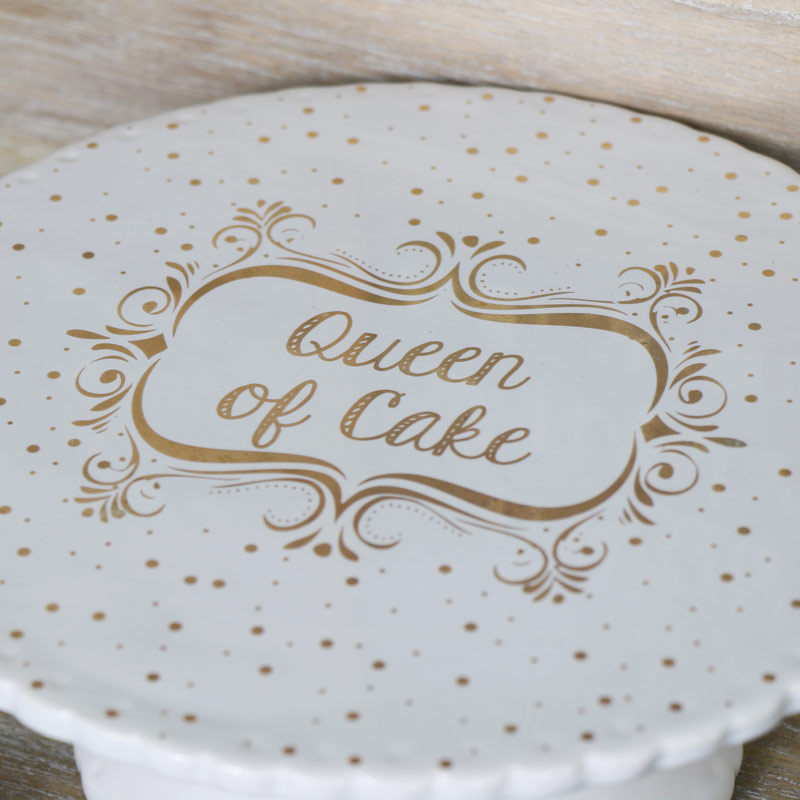 'Queen of Cake' Ceramic Cake Display Stand