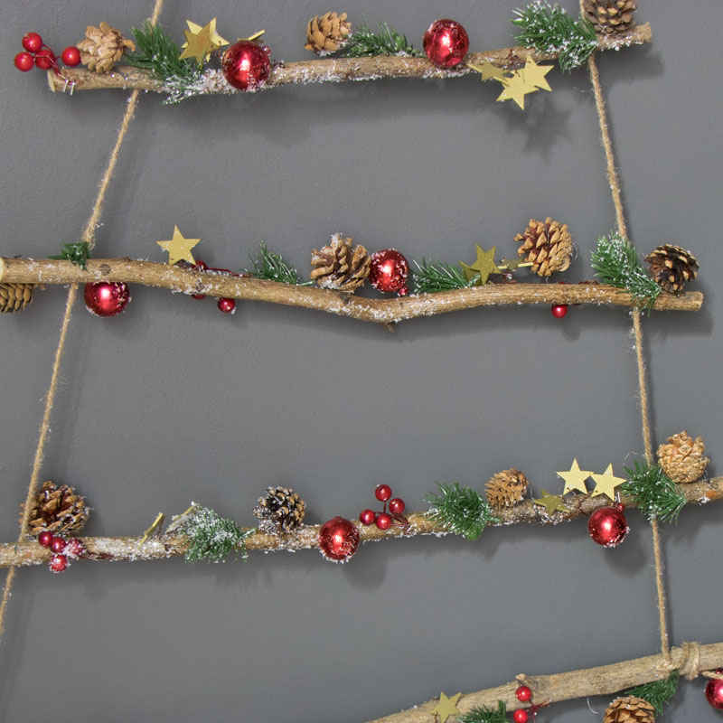 Red Bauble Rope Ladder Hanging Christmas Tree