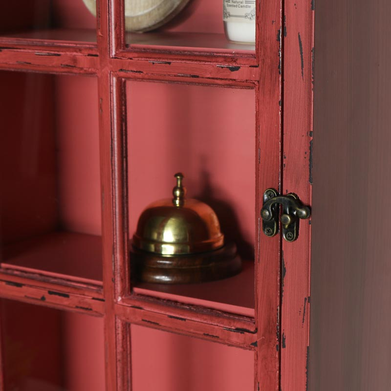 Red London Telephone Box Glazed wall Cabinet