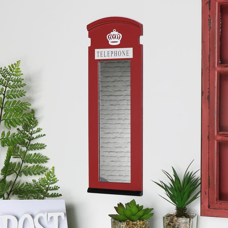 Red London Telephone Box Mirror Melody Maison